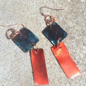 Red Blue Dangle Pure Copper Earrings Handmade Drop
